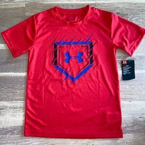 Boys Red Under Armour Baseball Tshirt Size 7 Nwt